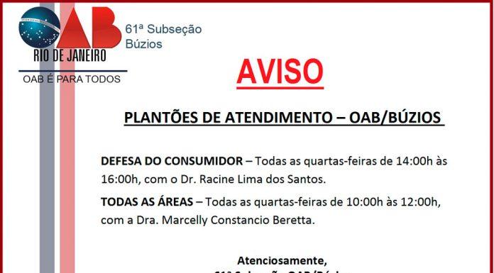 Plantão de atendimento OAB/Buzios
